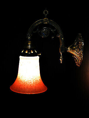 bronze vintage antique wall light sconce handmade French pigmented glass shade