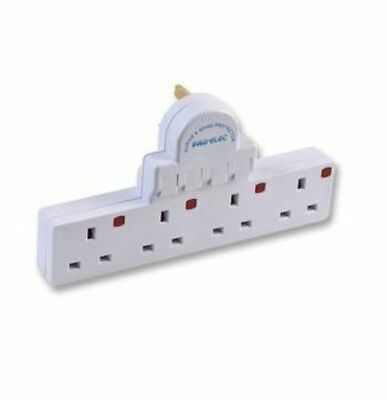 4 Gang Way Plug Switched Spike Surge Protect Adaptor Multi Plug Extension Socket