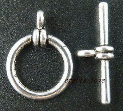 20Sets Tibet Silver Smooth Ring Toggle Clasps 21mm 12635