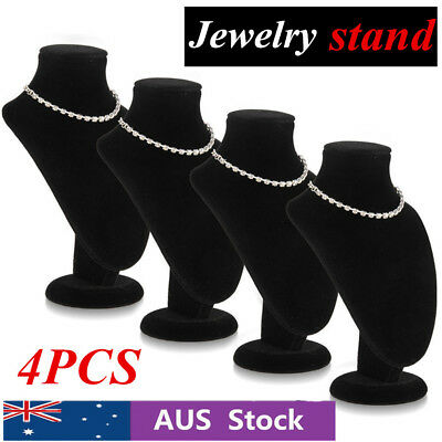 2//4 PCS Chain Jewellery Necklace Display Holder Neck Bust Velvet Stand Xl