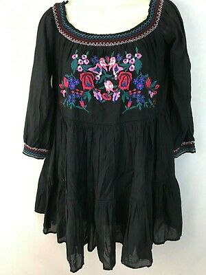 Free People Boho Dress Peasant Gypsy Black Off Shoulder Embroidered Tiered Small