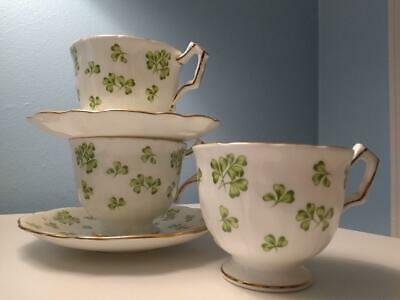 2 AYNSLEY Bone China SHAMROCK Tea Cup & Saucer Set Made in England + Extra Cup