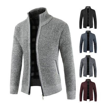 Mens Full Zip Sweater Knit Cardigan Stand Collar Warm Thick Coat Casual Jacket