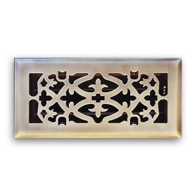 Ornamental Scroll Floor Diffuser Antique Brass 4 x 10 in High Quality Steel Vent