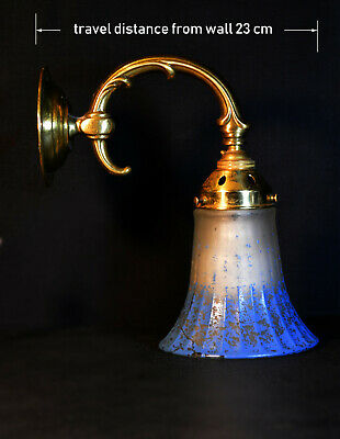 Brtass vintage antique wall light sconce handmade French pigmented glass shade