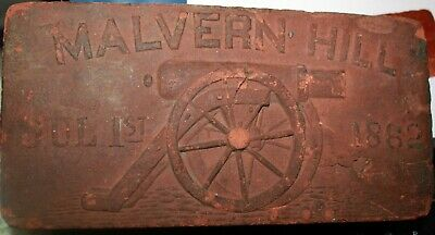 Rare Battle of Malvern Hill VA Civil War Brick Dated 1862 Cannon Face