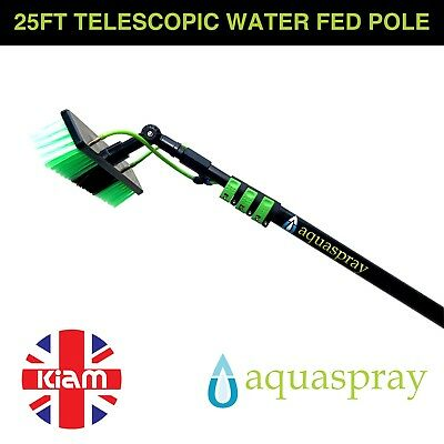 25ft Telescopic Water Fed Pole Lightweight Window Cleaning Water Spray