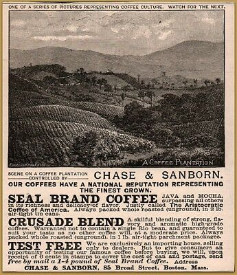 1888 Chase Sanborn Coffee Coffee Culture Series Print Ad Plantation Seal