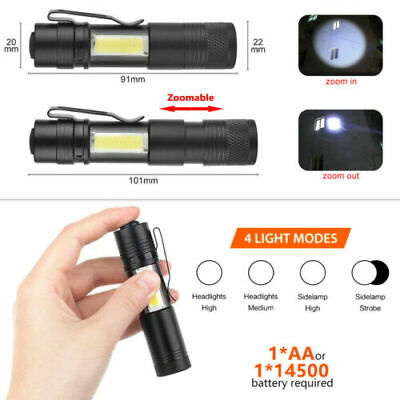Mini Portable Zoomable Flashlight 2000LM Q5 COB LED Torch Lamp Penlight
