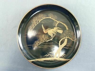 Japanese Lacquer ware Plate Pine tree Makie Gold Hawk Vtg Wooden Nurimono LP8