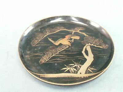Antique Japanese Lacquer ware Plate Wooden Gold 7in Hawk Pine tree Makie LP7