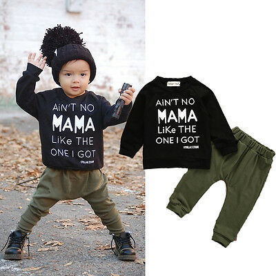 Fall Baby Boy Long Sleeve T-shirt Tops+Pants Trouses Outfits Toddler Clothes USA
