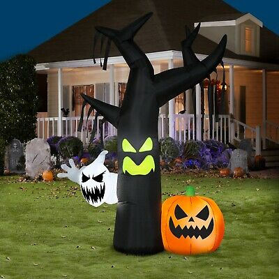 7 ft. Halloween Airblown Inflatable Ghostly Tree Scene Self-inflates in seconds