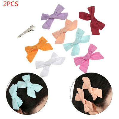 2PCS Baby Girls Print Flower Bohemian Style Bow BB Hair Clips Children Hairpins