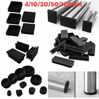 100PCS Plastic Ribbed Tube Inserts Blanking End Caps Table Chair Leg Covers