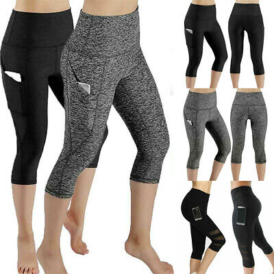 Womens High Waisted Yoga Pants Fitness Leggings Workout Gym Sports Trousers AU