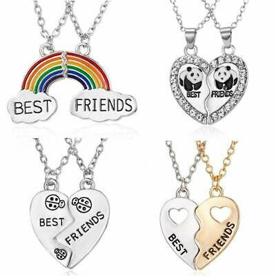 NEW BEST FRIEND 2 Pendants Necklace Half Heart Mood Silver BFF Friendship HOT