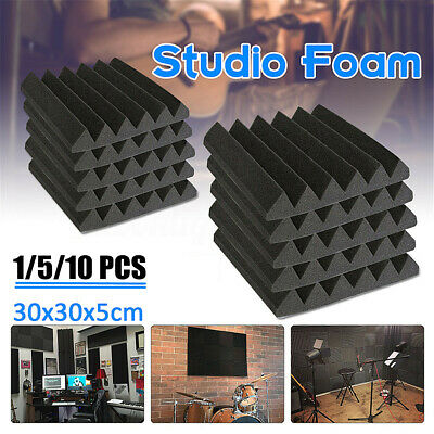 "12 Pack Black 12""X 12""X2"" Studio Soundproofing Foam Wedge Acoustic Panels"