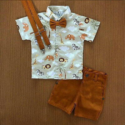 US 2PCS Toddler Baby Boy Kid Clothes Gentleman T-Shirt Top+Pants Outfit Set Suit