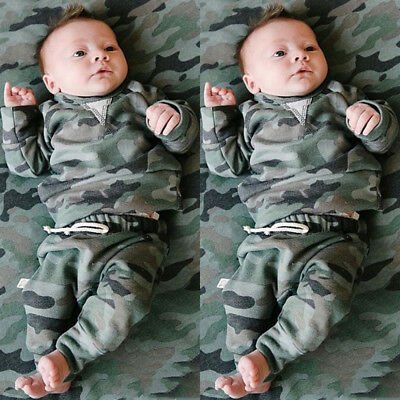 USA Newborn Kids Baby Boy Girl Camo Clothes Tops T-shirt +Pants Leggings Outfits