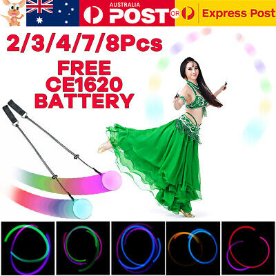 8x LED Multi-colored Glow POI Light Up Thrown Balls Belly Dance Level Hand Props
