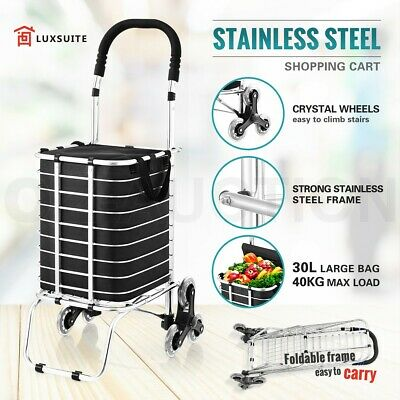 Shopping Trolley Carts Stainless Steel Market Grocery Luggage Basket Bags Wheel