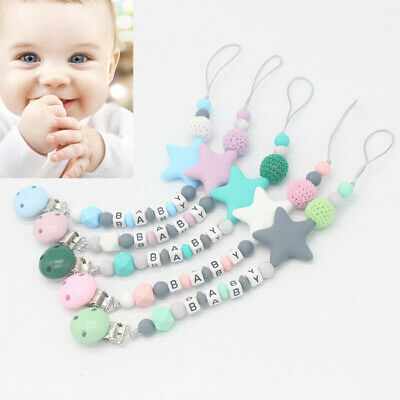 Dummy Clips Baby Teeth Chain Holder Kit Pacifier Teething Strap Silicone Beads