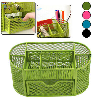 Metal Mesh Pen Stationery Pot Container Organizer Holder For School Office C6I7