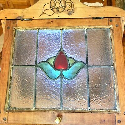 Beautiful stained glass and wood handmade corner cabinet #2 (age unknown)