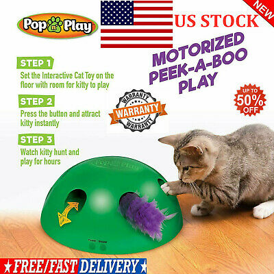Pop N' Play Interactive Motion Cat Toy Mouse Tease Electronic Pet Toys USA STOCK
