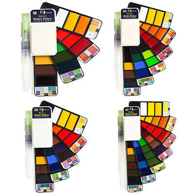 Superior Solid Watercolor Paint Set With Water Brush Pen Foldable Travel WaC5Y9