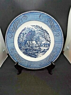 "Currier & Ives Blue 10"" Dinner Plate ""The Old Grist Mill"" by Royal China"