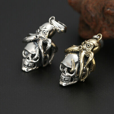 925 silver jewelry personality trend fashion octopus skull men and women pendant