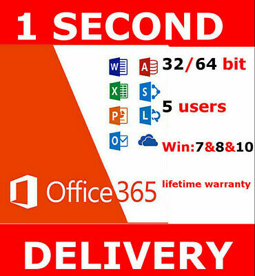 INSTANT Microsoft Office 365 2016 2019 Pro Plus Lifetime 5 PC/MAC/Mobile 5TB