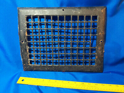 Antique Home Cast Iron Grate Wall Mount Register Heating Duct VTG Black 13.5x10.