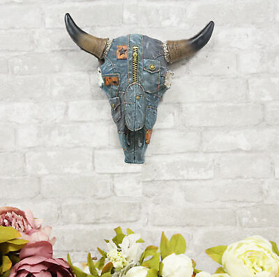 Western Cowboy Blue Jeans Steer Bison Bull Cow Horned Skull Head Wall Decor 3D