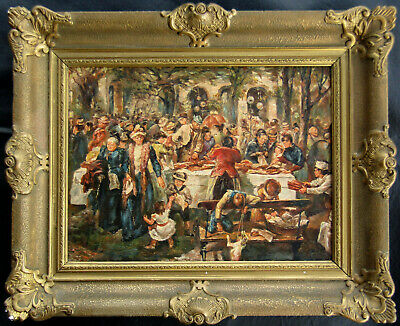 GREAT Ashcan School Signed PERIOD 1902 Antique Oil Painting of a Picnic NO RES.