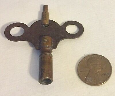 Vintage Wind up Antique Brass Clock Key ( For Mantle Style Clock )