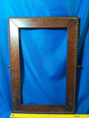 Antique Solid Wood Carved Picture Frame Beaded Mirror Painting VTG Old Primitive