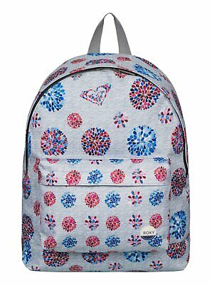 NEW nwot ROXY Grey Dahlia Flower BE YOUNG BACKPACK with Logo Patch Medium Size