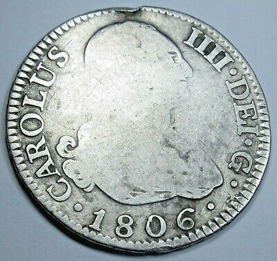 1806 Spanish Silver 2 Reales Piece of 8 Real Colonial Era Two Bit Treasure Coin