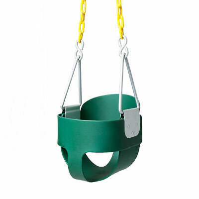 JOYMOR Outdoor High Back Full Bucket Toddler Swing Seat & Plastic Coated Chain
