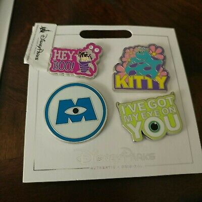 Disney Pins MONSTERS INC  4 Pin Set - Sulley - Boo - Kitty - Eye On You NOC