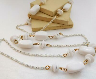 Vintage Crown Trifari White Bead Chain Long Necklace S16