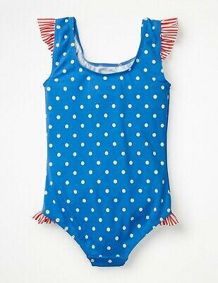 NWT Mini Boden Frilly Printed Polka Dot Bathing Swimsuit One piece Girls 9 10 yr
