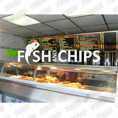 Large Fish & Chips Sticker, Chip Shop/ Cafe, Shop Window Decal 1760mm x 500mm