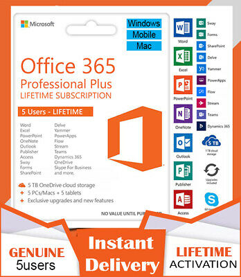 Microsoft Office 365 2016 2019 Pro Plus Lifetime 🔥5 PC/MAC/Mobile 5TB 🔥INSTANT