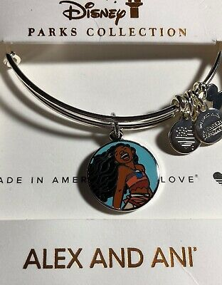 Disney Parks Alex And Ani Moana The Ocean Connects Us Silver Bangle Bracelet