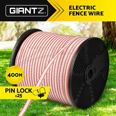 Giantz 400M Roll Electric Fence Wire with Insulators Tape Poly Temporary Fencing