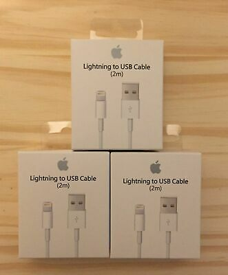 3 PACK 2M 6FT GENUINE OEM Apple Lightning USB Cable Charger iPhone X 8 7 6 6S